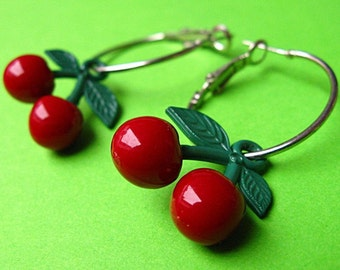 Cherry Hoop Earrings - Red, Retro & Rockabilly
