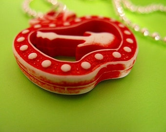 SALE - Red Apple Guitar Necklace
