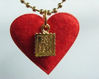 SALE - Postage Stamp Pendant - Red Felt Heart and Stamp Necklace