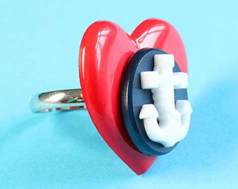 Large Heart & Anchor Ring - Nautical Adjustable Ring - Navy Blue and Red