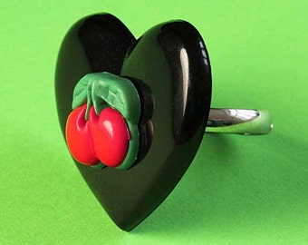 Large Heart & Cherries Ring - Rockabilly Adjustable Ring - Black and Red