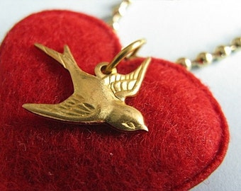 Swallow Necklace - Red