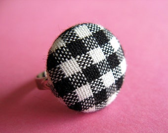 Black and White Gingham Ring - Fabric Covered Adjustable Ring