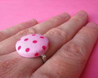 Polka Dot Ring - Fabric Covered Adjustable Ring - Pink