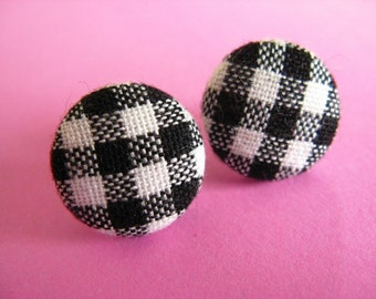 Black Gingham  Fabric Covered Stud Earrings - Checked Ear Posts