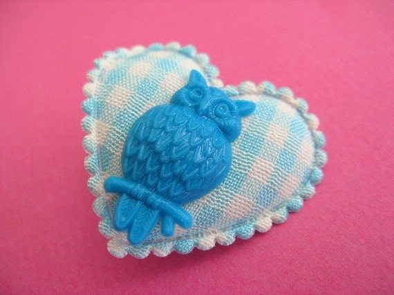 Heart and Owl Gingham Brooch - Teal, Blue and White
