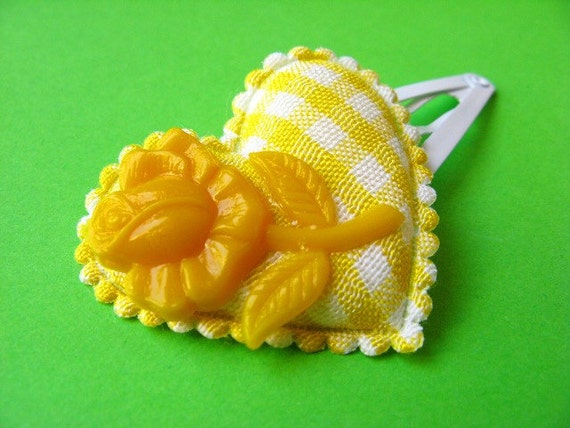 Gingham Heart Flower Hair Clip - Bright Yellow and White