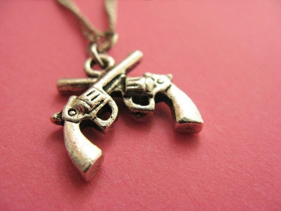 Crossed Guns Necklace