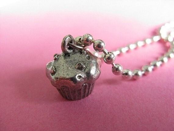Yummilicious Simple Cupcake Charm Necklace - Silver Tone