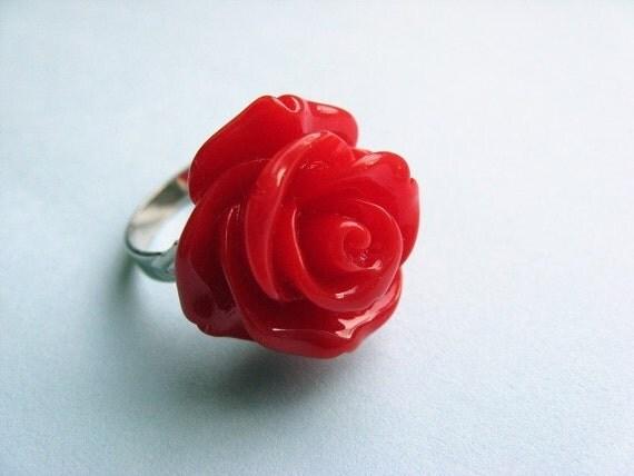 Red Rose Ring - Adjustable Romantic Flower Ring