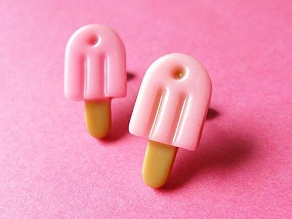 Pink Popsicle Ear Posts - Kawaii Stud Earrings