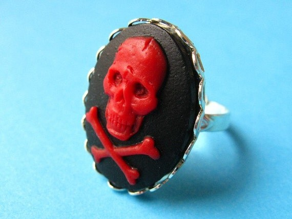 Gothic Skull Cameo Ring - Red and Black Vintage Style Adjustable Ring
