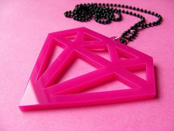 Large Laser Cut Fake Diamond Necklace - Hot Pink Acrylic Pendant