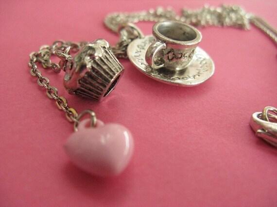 High Tea Necklace - Cupcake and Tea