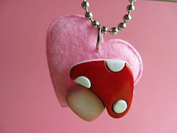 Mushroom Love Pendant - Felt Necklace - Pink and Red