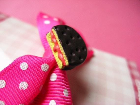 Kawaii Polka Dot Hair Bow - Chocolate Cookie - Pink, White & Brown