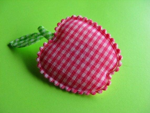 Pink Gingham Apple Brooch