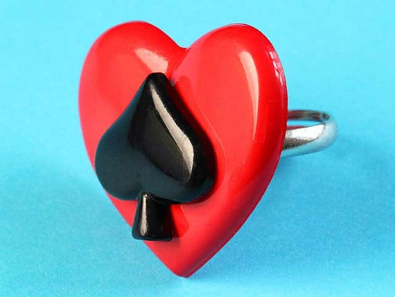 Large Heart & Ace of Spades Ring - Rockabilly Adjustable Ring - Red and Black