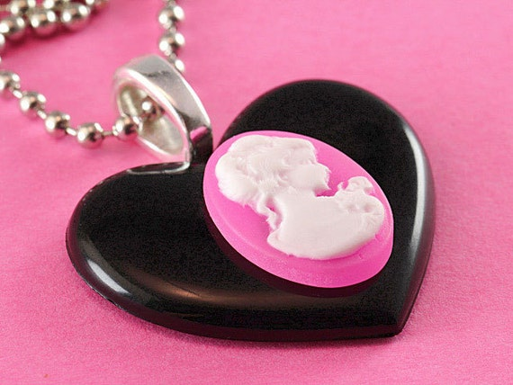 Heart & Cameo Necklace - Large Kitsch Pendant - Black, Pink and White