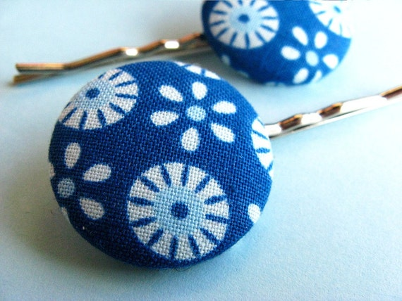 Tilda Mod Hair Pins - Set of 2 Fabric Covered Bobby Pins - Blue