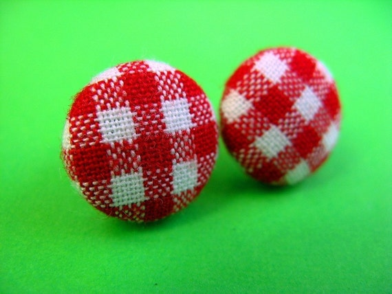 Red Gingham  Fabric Covered Stud Earrings - Retro Ear Posts