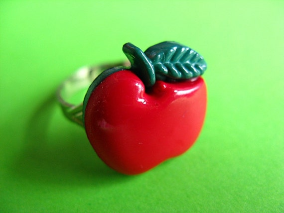 Red Apple Ring - Adjustable Fruit Ring