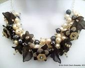 Handmade Original Pearl Beaded Floral Necklace - Sexy Lady - Original Designs by Kim Smith