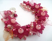 Rasberry Red and Peach Pearl Cluster Bracelet,  Beaded Bracelet, Floral Bracelet - Handmade Original Designs by Kim Smith