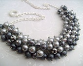 Set of 3 - Pearl Beaded Necklace, Cluster Necklace, Chunky Necklace, Bridal Necklace, Bridesmaid Gift - Gracious In Gray