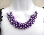 Pearl Beaded Necklace, Bridal Jewelry, Bridesmaid Necklace, Purple Necklace, Cluster Necklace, Bridesmaid Gift, Custom Colours