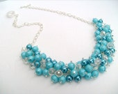 Pearl Beaded Necklace, Bridal Jewelry, Cluster Necklace, Malibu, Tiffany Blue, Bridesmaid Gift, Custom Colours by Kim Smith