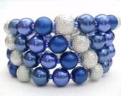 Royal Blue Pearl Beaded Memory Wire Wrap Bracelet, Cuff Bracelet, Chunky Bracelet, Bridal Jewelry - Handmade by Kim Smith