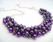Pearl Beaded Necklace, Purple and Slate Gray Bridesmaid Necklace, Purple Necklace, Cluster Necklace, Bridesmaid Gift, Custom Colours