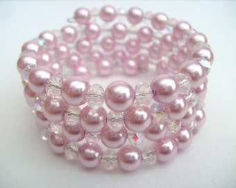 Crystal and Pink Pearl Beaded Memory Wire Wrap Bracelet, Cuff Bracelet, Chunky Bracelet, Bridal Jewelry, Pink Wedding Theme, Pearl Bracelet