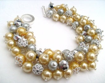 Lemon and Gray Pearl Bracelet, Cluster Bracelet, Beaded Bracelet, Bridesmaid Bracelet, Vintage Style, Wedding Jewelry, Yellow Bracelet, Gift