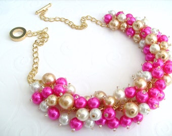 Set of 7 Pearl Beaded Necklace, Hot Pink Bridesmaid Jewelry, Cluster Necklace, Chunky Necklace, Bridesmaid Gift, Bridesmaid Necklace