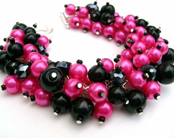 Bridesmaid Jewelry, Hot Pink and Black Pearl Beaded Bracelet, Cluster Bracelet, Pearl Bracelet, Bridesmaid Gift