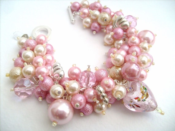 Heartbeat - Pearl Beaded Charm Bracelet - Handmade Original Designs by Kim Smith