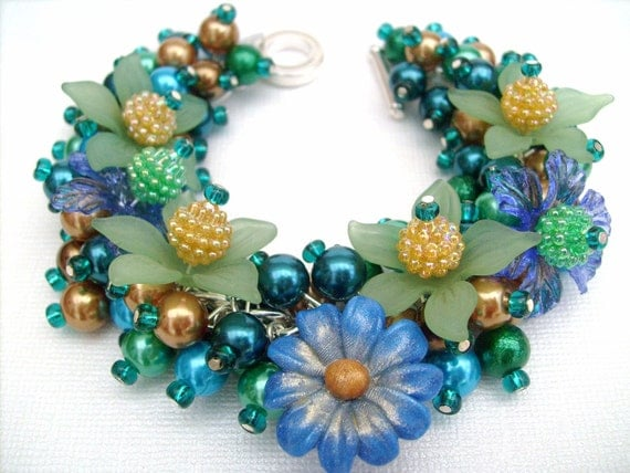 Peacock Pizazz - Pearl Beaded Charm Bracelet - Handmade Original Designs by Kim Smith