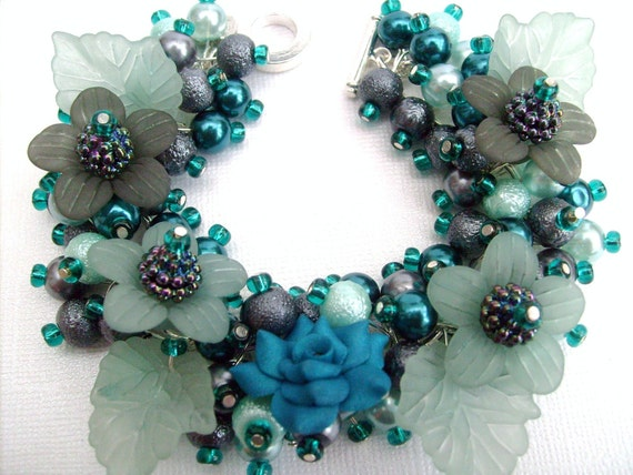 Teal Rose Garden - Pearl Beaded Charm Bracelet - Handmade Original Designs by Kim Smith