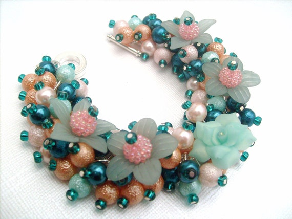 Sale - Pearl Beaded Bracelet, Chunky Bracelet, Cluster Bracelet, Teal and Peach, Rose Flower - Handmade Original Designs by Kim Smith