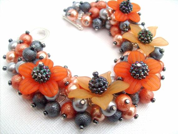 Pearl Beaded Bracelet, Cluster Bracelet, Orange Flowers, Chunky Bracelet - Lush - Handmade Original Beaded Designs by Kim Smith