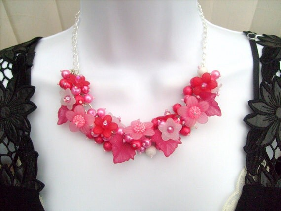Cluster Necklace, Chunky Necklace,  Pearl Beaded Floral Necklace by Kim Smith - Pink Blossoms
