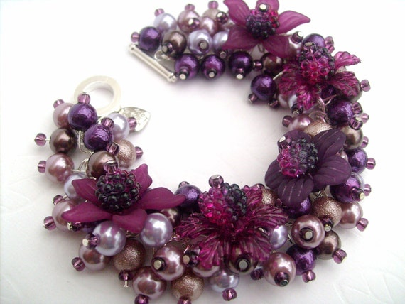 Beaded Charm Bracelet With Flowers and Pearls - Plum Pudding - Original Designs by Kim Smith