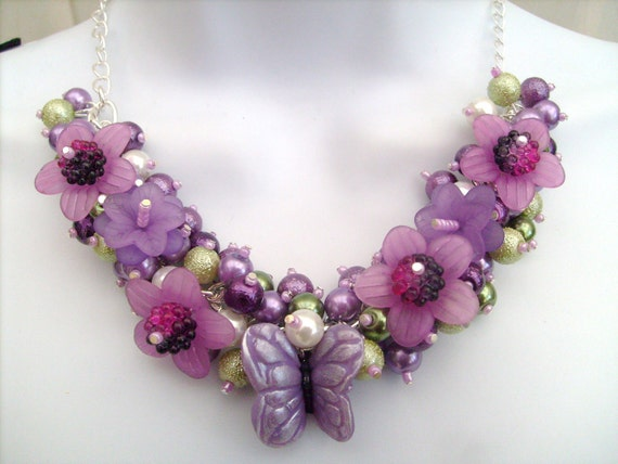 Pearl Beaded Necklace, Cluster Necklace, Chunky Necklace, Floral Necklace - Butterfly Shimmer - Original Designs by Kim Smith
