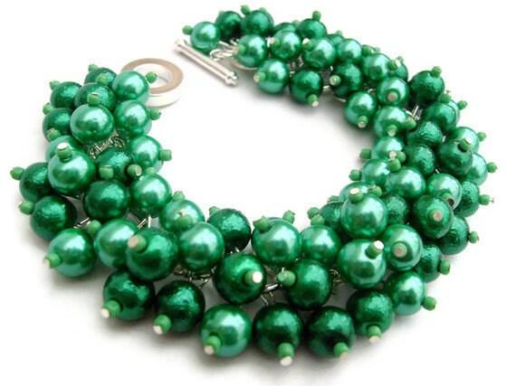 Kelly Green Pearl Beaded Bracelet, Cluster Bracelet, Chunky Bracelet, Green Bridesmaid Jewelry - Designs By Kim Smith