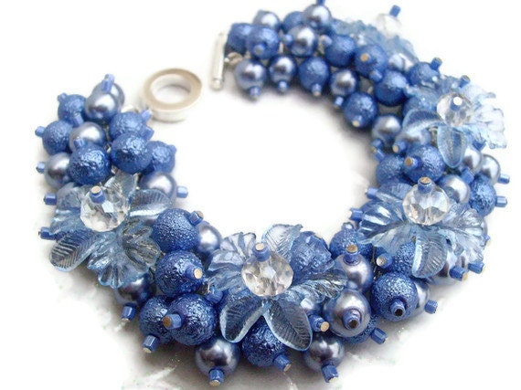 Pearl Beaded Bracelet With Flowers, Cluster Bracelet, Chunky Bracelet, Blue Bracelet - Misty Blue - Original Designs by Kim Smith