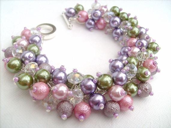 Bridal Pearl Bracelet, Cluster Bracelet, Beaded Bracelet, Bridesmaid Bracelet, Wedding Jewelry, Bridesmaid Gift - Pretty Pastel Petals