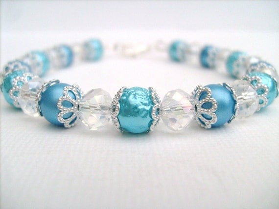 Tiffany Blue Pearl Beaded Bracelet, Bridesmaid Bracelet, Single Strand Bracelet, Pearl and Crystal Bracelet by Kim Smith