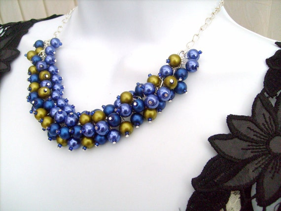 Pearl Beaded Necklace, Bridal Jewelry, Cluster Necklace, Cobalt Blue and Olive Green, Bridesmaid Gift, Custom Colours by Kim Smith